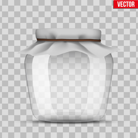 food preservation: Glass Jar for canning and preserving. With cloth cover. Vector Illustration isolated on transparent background.