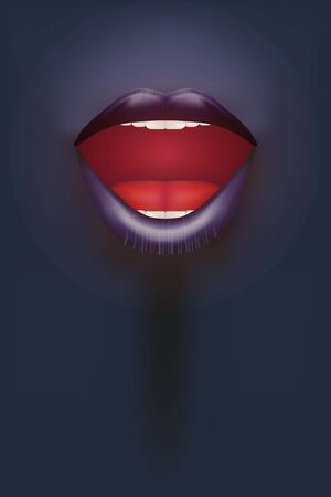 nude black woman: Night club Poster. Female mouth on dark Background. Party Invitation and flyers. Sexual woman. Vector Illustration.