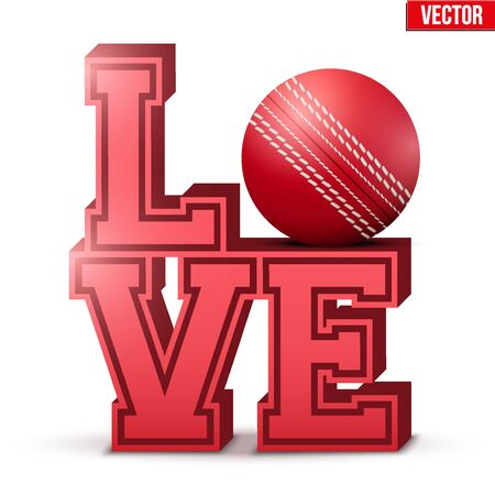 Letters forming word LOVE with cricket ball. Vector Illustration isolated on white background.