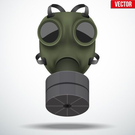 Retro vintage gas mask with one filter. Army symbol. Editable Vector illustration Isolated on white background.