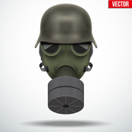 Military helmet with gas mask. Army symbol. Editable Vector illustration Isolated on white background.