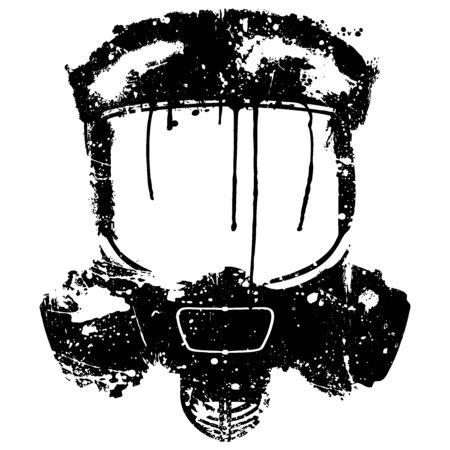 Gas mask with paint splash effect. Vector illustration Isolated on white background. Illustration