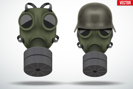 gas masks: Set of Military gas masks with german helmet. Army defense symbol. Editable Vector illustration Isolated on white background.