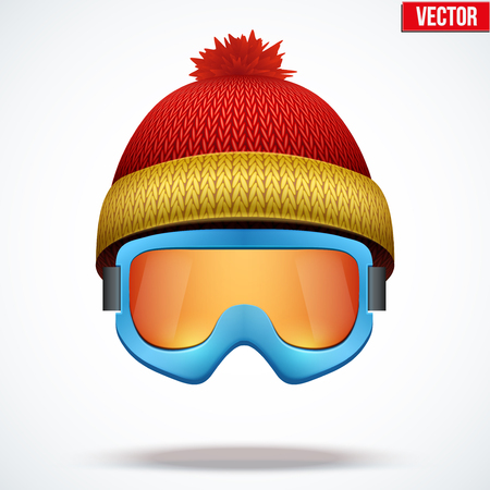Knitted woolen red cap with snow goggles. Winter seasonal sport hat. Vector illustration isolated on white background. Stock Vector - 68814503