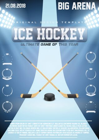 hockey games: Poster Template Ice Hockey Games with sticks and puck. Cup and Tournament Advertising. Sport Event Announcement. Vector Illustration.