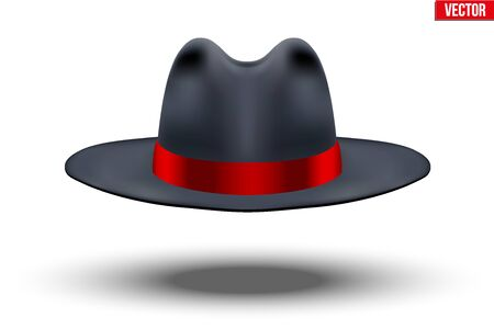 Classic Men Hat. Black color with red ribbon. Accessory for beauty stylish man and gentlemen. Vector Illustration Isolated on white background.