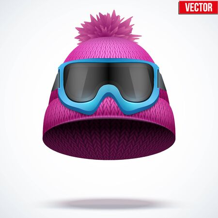 ski wear: Knitted woolen cap with snow ski goggles. Winter seasonal sport hat. Vector illustration isolated on white background.