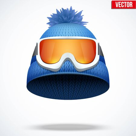 knitten: Knitted woolen cap with snow ski goggles. Winter seasonal sport hat. Vector illustration isolated on white background.