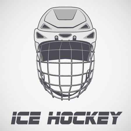 hockey cesped: Classic Goalie Hockey Helmet sketch style. Ice and Grass Field sport. Vector Illustration isolated on background. Vectores