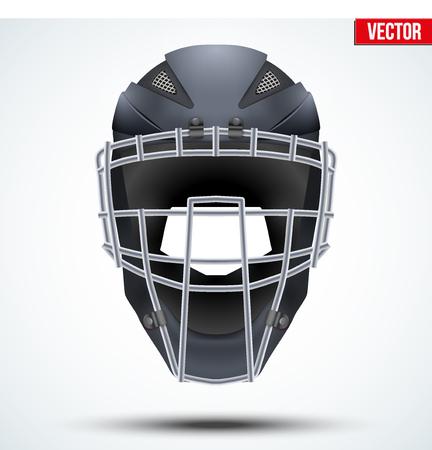 Original Catcher Helmet for Baseball and Softball Games. Sport equipment and gear. Vector Illustration isolated on white background. Vetores