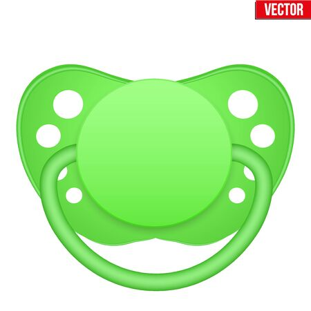Traditional Baby Pacifier. Green color. Vector Illustration isolated on white background.