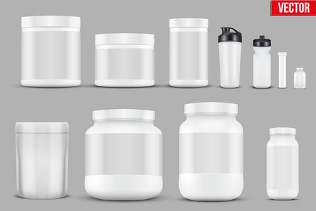 Set Mockup Sport Vitamin Containers Vectores