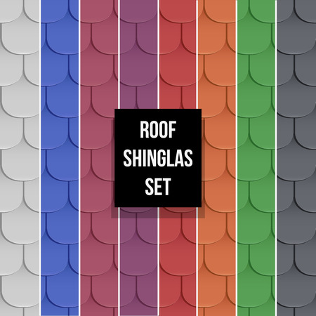roof shingles: Set of Shingles roof seamless patterns