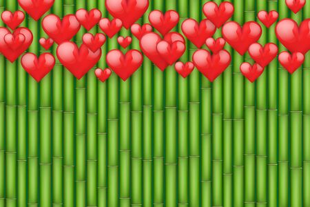 Bamboo background with red hearts