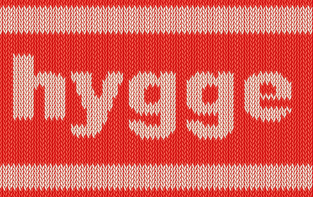 Word HYGGE on knitting texture Stok Fotoğraf