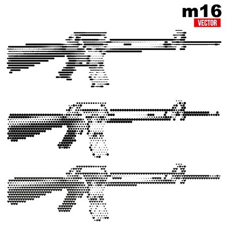 M16: M16 rifle halftone set Stock Photo
