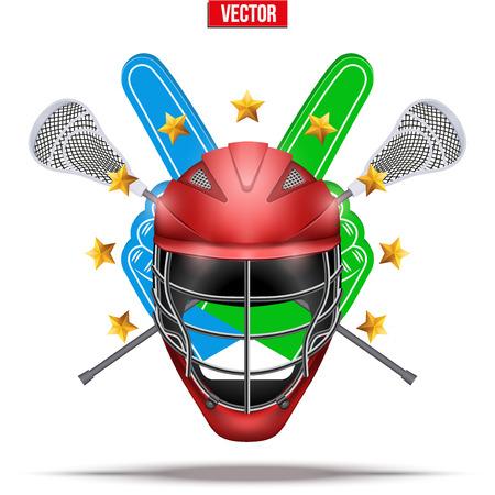 crosse: Lacrosse sticks and helmet Label Stock Photo
