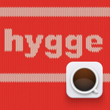 Word HYGGE on knitting texture Illustration