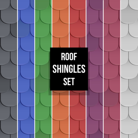 shingles: Set of Shingles roof seamless patterns