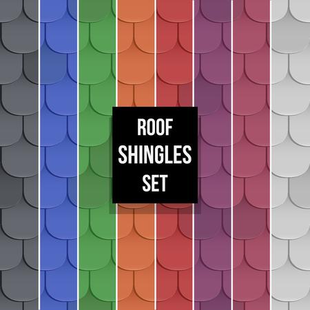Set of Shingles roof seamless patterns