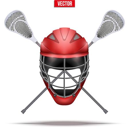 Palos de Lacrosse y casco Etiqueta