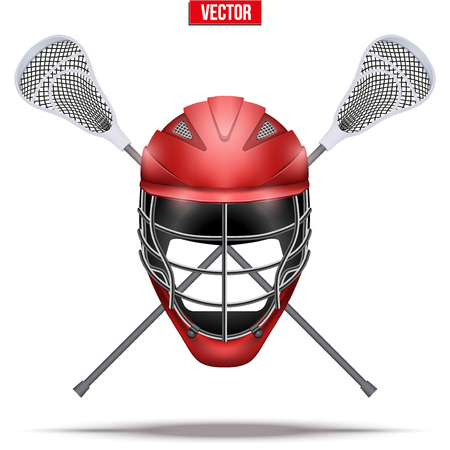 Lacrosse sticks and helmet Label Illustration