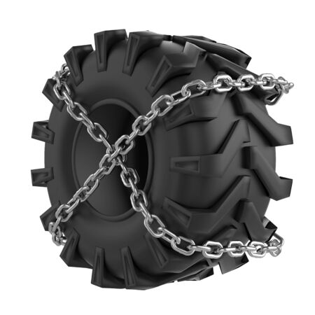 snow tires: Tractor tire chains wrapped