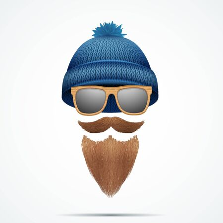 knitten: Symbol of Hipster and Lamberjack. Wool knitten cap with beard and mustache and sunglasses. Fashion icon of male. Vector illustration Isolated on white background.