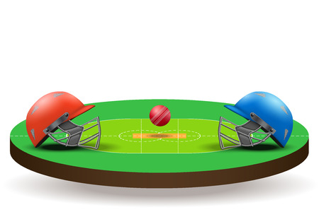 criket: Background of Cricket teams competition. Helmets on field with ball. Vector illustration Isolated on background.