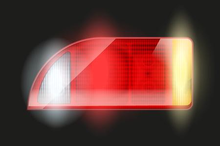 taillight: Rectangular car taillight. Illustration