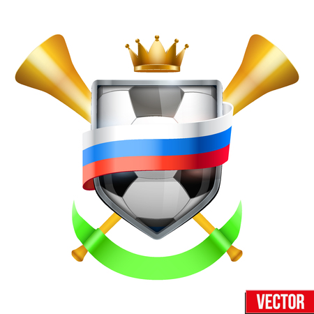Shield in the football ball inside Russia flag.