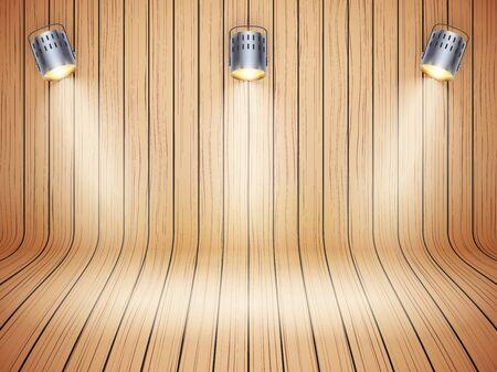Curved wooden design with spotlights Illustration