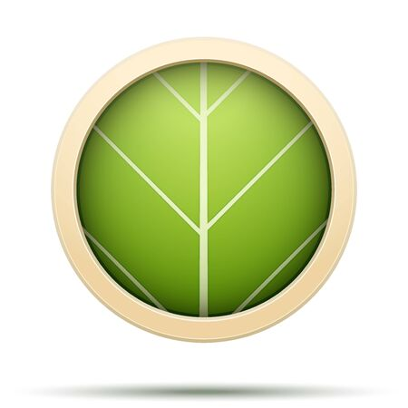 vegetate: Leaves round Icon Vector