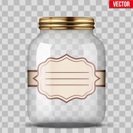 Glass Jar voor het inblikken met etiket Stock Illustratie