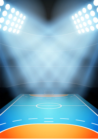 Background for posters night multisport stadium in the spotlight. Vector
