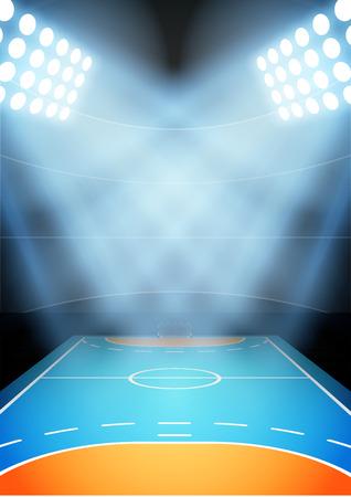 terrain de handball: Contexte pour les affiches nuit stade multisport à l'honneur. Vecteur Illustration