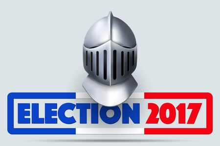 Knight Helmet with French Election Symbol Illustration
