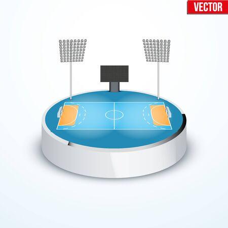 tabletop: Concept of miniature round tabletop handball arena Illustration