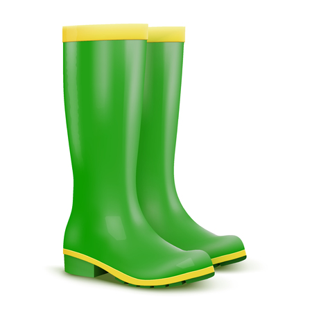 Green Garden rubber high boots Stock Photo