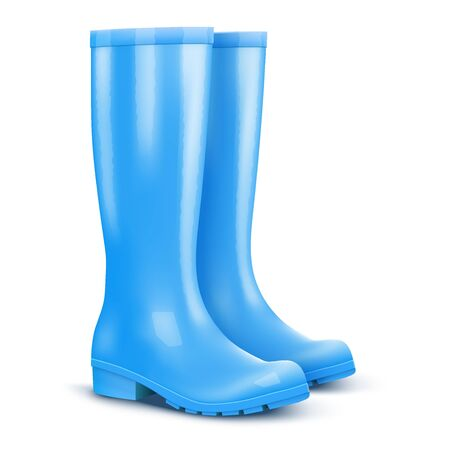 Pair of blue rain boots Stock fotó - 74356139