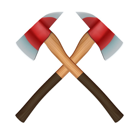 crossed: Firefighter Axes Stock Photo