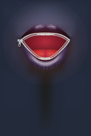 Night club Poster with lips and BDSM