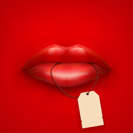 luscious:  Background of Woman mouth with tag and lips. Sale ot promotion illustration.  Stock Photo
