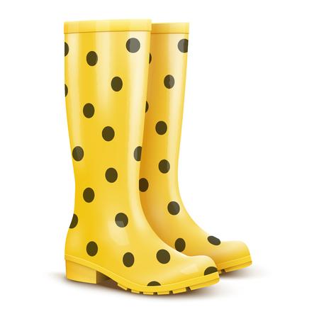 Pair of yellow rain boots