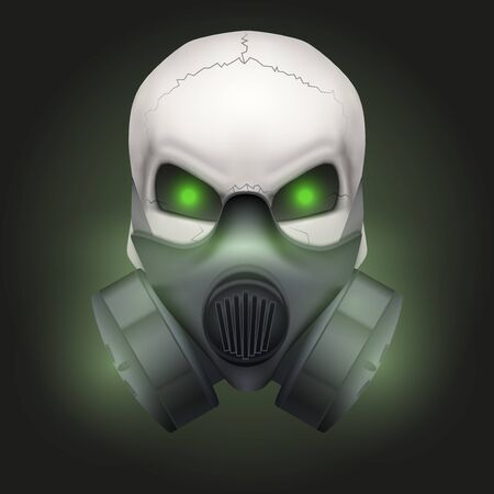 Human skull with Respirator mask. Stock Photo