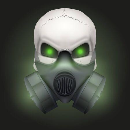 gasmask: Human skull with Respirator mask. Stock Photo