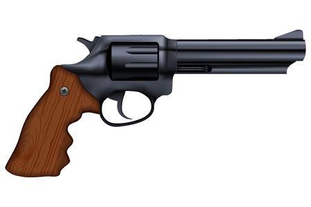 Big Revolver. Silver bright metal. Stock Photo