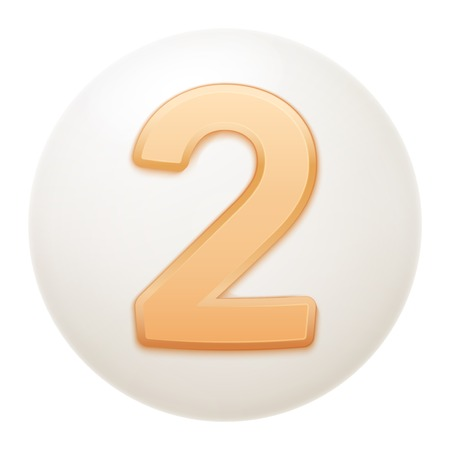 numerology: Full collection of icons balls with number 2. Stock Photo