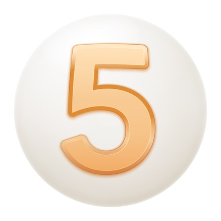 Full collection of icons balls with number 5.