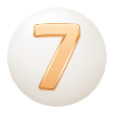 Full collection of icons balls with number 7.